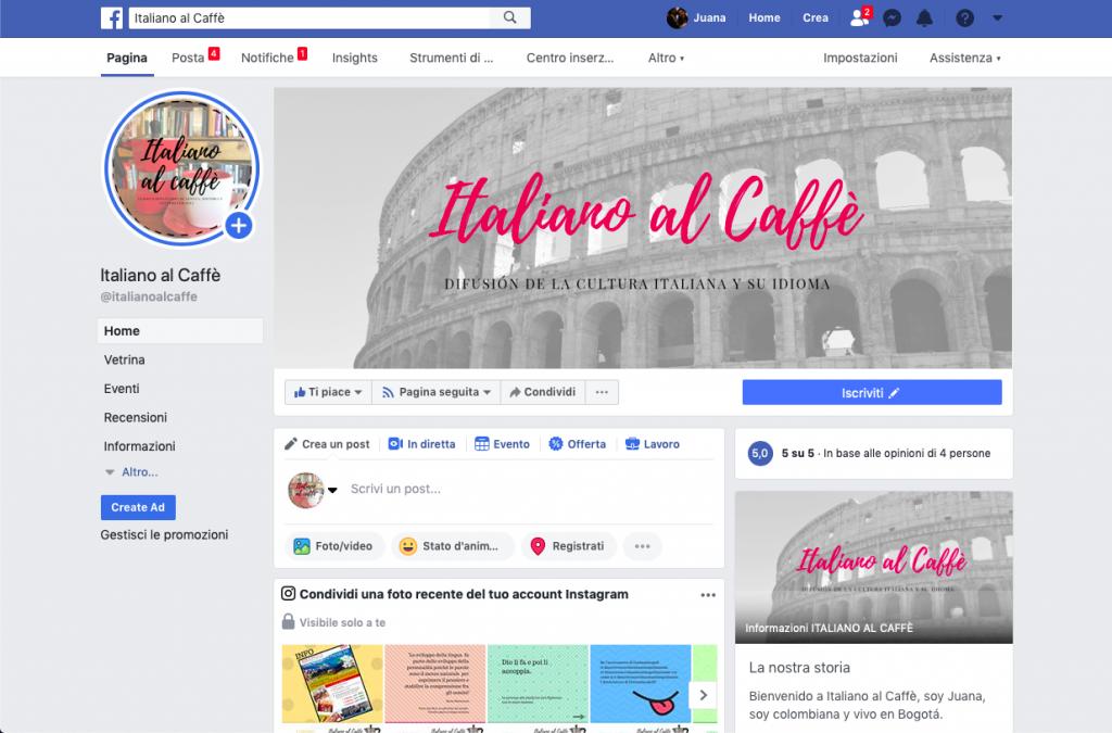 Facebook italiano al caffè