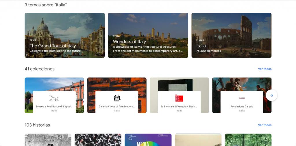 Google arts and culture - Museos italiano para visitar virtualmente