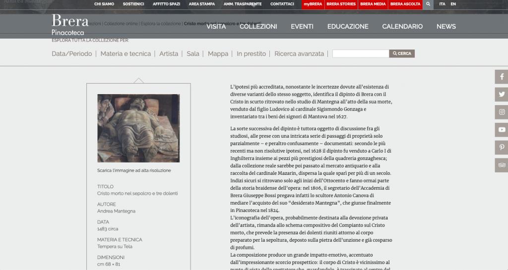 Pinacoteca di Brera - Museos italiano para visitar virtualmente