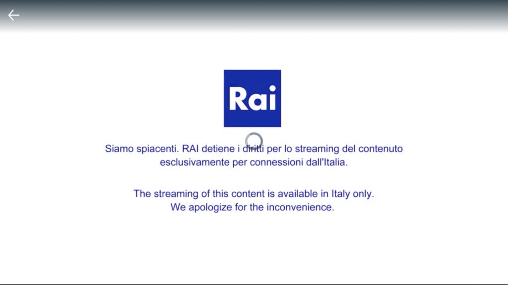 No autorizado - ver rai play fuera de Italia